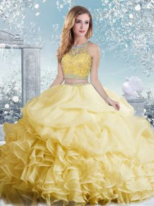 Yellow Organza Clasp Handle Bateau Sleeveless Floor Length Quinceanera Dress Beading and Ruffles and Pick Ups