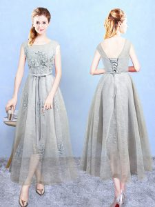 Grey Tulle Lace Up Quinceanera Dama Dress Sleeveless Ankle Length Appliques