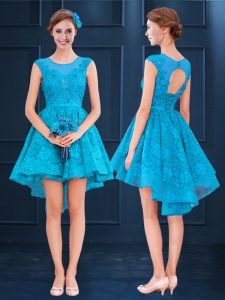 Sleeveless High Low Lace Lace Up Dama Dress for Quinceanera with Baby Blue