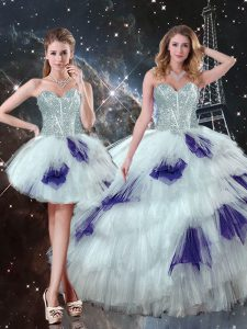 Multi-color Lace Up Sweetheart Beading and Ruffled Layers and Sequins Sweet 16 Dress Tulle Sleeveless