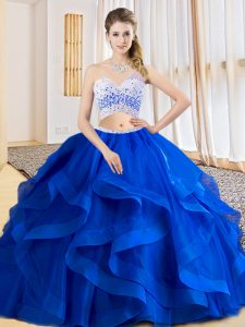 Sleeveless Beading and Ruffles Criss Cross Sweet 16 Dresses