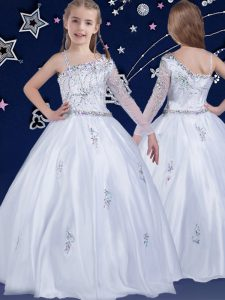 Stunning White Kids Pageant Dress Quinceanera and Wedding Party with Beading Asymmetric Sleeveless Zipper
