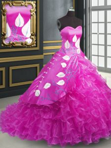 Smart Fuchsia Lace Up Sweetheart Embroidery and Ruffles Quinceanera Gown Organza Sleeveless Brush Train