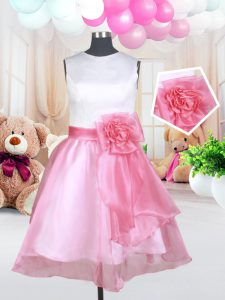 Latest White and Pink And White A-line Scoop Sleeveless Organza Mini Length Zipper Hand Made Flower Child Pageant Dress