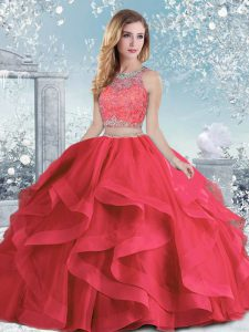Enchanting Ball Gowns 15th Birthday Dress Coral Red Scoop Organza Sleeveless Floor Length Clasp Handle