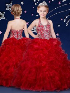 Halter Top Wine Red Zipper Child Pageant Dress Beading and Ruffles Sleeveless Floor Length