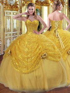 Glorious Gold Lace Up Sweet 16 Dress Pick Ups and Hand Made Flower Sleeveless Floor Length
