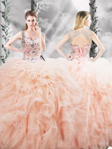 Wonderful Straps Sleeveless Quince Ball Gowns Floor Length Beading and Ruffles Peach Tulle