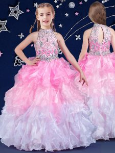 Latest Halter Top Floor Length Zipper Kids Pageant Dress White and Pink And White for Quinceanera and Wedding Party with Beading and Ruffles