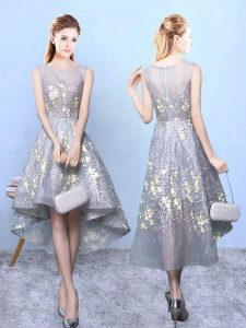 Grey Quinceanera Court of Honor Dress Prom and Party and Wedding Party with Pattern Scoop Sleeveless Zipper