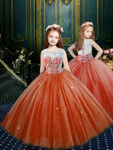 Floor Length Orange Red Little Girl Pageant Gowns Scoop Sleeveless Clasp Handle