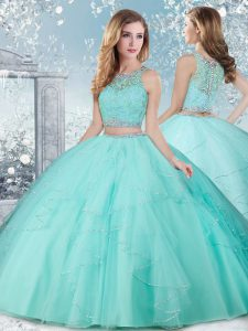 Scoop Sleeveless Sweet 16 Dresses Floor Length Beading Aqua Blue Tulle