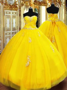 Floor Length Gold Quinceanera Dresses Tulle Sleeveless Beading and Appliques