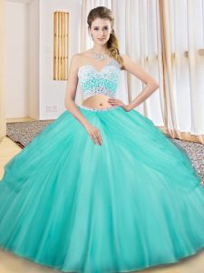 Aqua Blue Sleeveless Tulle Criss Cross Quinceanera Gowns for Military Ball and Sweet 16 and Quinceanera