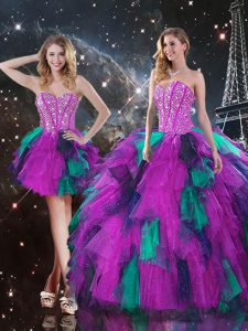 Luxurious Multi-color Sleeveless Floor Length Beading and Ruffles Lace Up Quinceanera Dresses