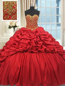 Gorgeous Sweetheart Sleeveless Brush Train Lace Up Ball Gown Prom Dress Red Taffeta