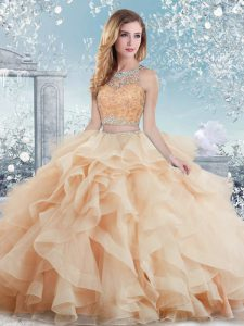 Flare Peach Clasp Handle Scoop Beading and Ruffles 15 Quinceanera Dress Organza Sleeveless
