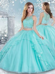 Nice Aqua Blue Scoop Neckline Beading and Lace 15th Birthday Dress Sleeveless Clasp Handle