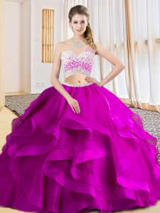 Latest Sleeveless Floor Length Beading and Ruffles Criss Cross Quinceanera Gowns with Fuchsia