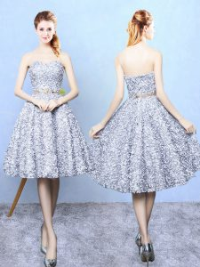 High Quality Sweetheart Sleeveless Lace Up Court Dresses for Sweet 16 Grey Printed
