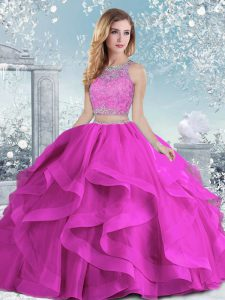 Floor Length Fuchsia Sweet 16 Dresses Scoop Sleeveless Clasp Handle