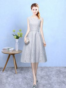 Artistic Grey Sleeveless Lace Zipper Dama Dress for Quinceanera for Wedding Party