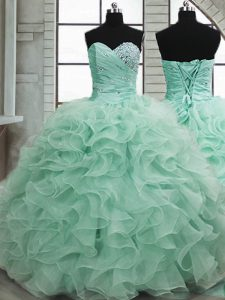 New Style Apple Green Organza Lace Up Sweet 16 Dress Sleeveless Floor Length Beading and Ruffles