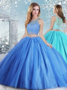 Custom Fit Baby Blue Clasp Handle Quinceanera Dress Beading and Sequins Sleeveless Floor Length