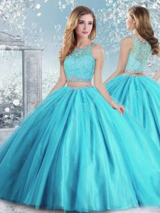 Aqua Blue Sleeveless Beading and Sequins Floor Length Vestidos de Quinceanera