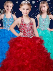Best Wine Red and Baby Blue and Turquoise Zipper Halter Top Beading and Ruffles Little Girls Pageant Dress Organza Sleeveless