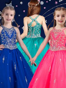 Nice Hot Pink and Royal Blue Scoop Zipper Beading Little Girl Pageant Gowns Sleeveless