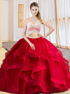 Exquisite Sleeveless Criss Cross Floor Length Beading and Ruffles Sweet 16 Quinceanera Dress
