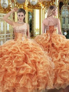 Modern Sleeveless Beading and Ruffles Lace Up Ball Gown Prom Dress