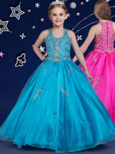 Customized Scoop Sleeveless Organza Floor Length Zipper Girls Pageant Dresses in Blue with Beading