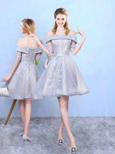 Grey Dama Dress for Quinceanera Prom and Party and Wedding Party with Appliques Off The Shoulder Half Sleeves Lace Up