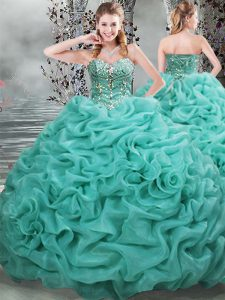 Best Selling Sleeveless Beading and Pick Ups Lace Up Quinceanera Gown with Turquoise Brush Train