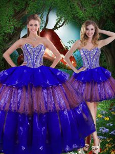 Comfortable Multi-color Ball Gowns Sweetheart Sleeveless Organza Floor Length Lace Up Beading and Ruffled Layers and Sequins Sweet 16 Quinceanera Dress