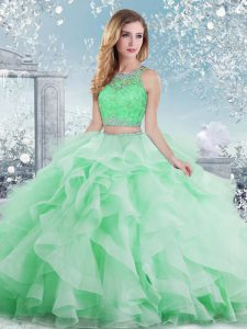 Best Floor Length Clasp Handle Sweet 16 Quinceanera Dress Apple Green for Military Ball and Sweet 16 and Quinceanera with Beading and Ruffles