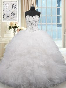 Organza Sleeveless Sweet 16 Dress Brush Train and Beading and Ruffles