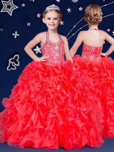 Custom Design Halter Top Floor Length Zipper Little Girls Pageant Dress Wholesale Coral Red for Quinceanera and Wedding Party with Beading and Ruffles