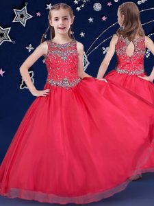 Customized Scoop Red Ball Gowns Beading Pageant Gowns For Girls Zipper Organza Sleeveless Floor Length