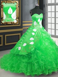 Classical Green Lace Up Sweet 16 Quinceanera Dress Embroidery and Ruffles Sleeveless Brush Train