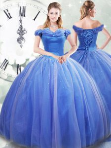 Luxurious Light Blue Sweet 16 Quinceanera Dress Tulle Brush Train Sleeveless Pick Ups