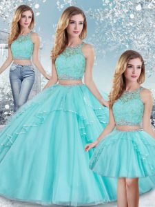 Aqua Blue Clasp Handle 15 Quinceanera Dress Beading and Lace and Sequins Sleeveless Floor Length