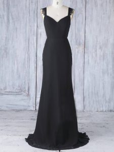 Amazing Appliques Damas Dress Black Zipper Sleeveless Sweep Train