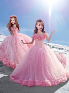 Baby Pink Lace Up Off The Shoulder Hand Made Flower Girls Pageant Dresses Tulle Sleeveless Court Train