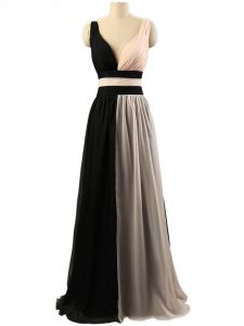 Empire Court Dresses for Sweet 16 White And Black Straps Chiffon Sleeveless Floor Length Criss Cross