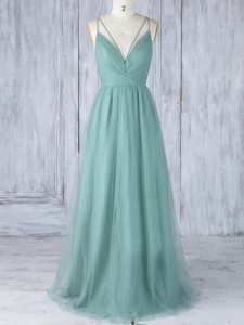 Modern Green Criss Cross Damas Dress Appliques Sleeveless Floor Length