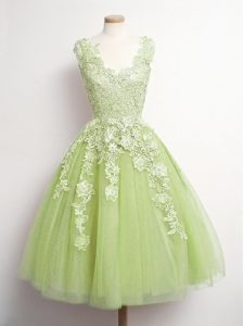 Custom Designed Yellow Green Tulle Lace Up Dama Dress Sleeveless Knee Length Appliques