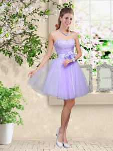 Lilac Quinceanera Court Dresses Prom and Party with Lace and Belt Sweetheart Sleeveless Lace Up